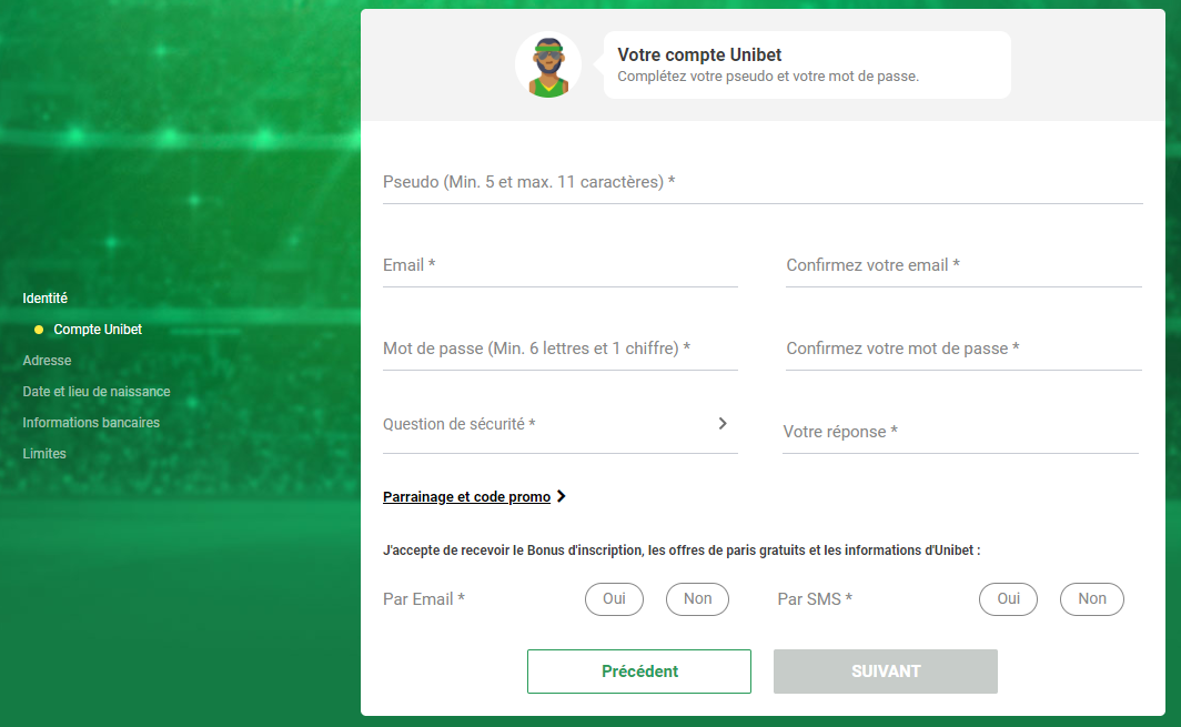 Inscription Unibet - step 2